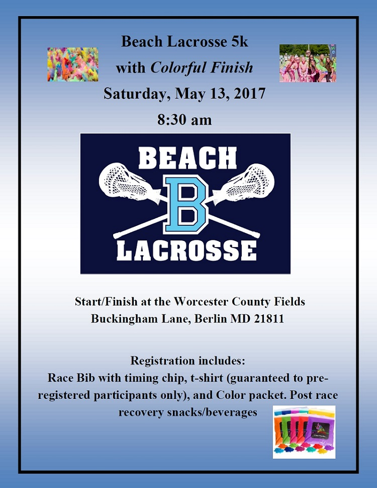 Beach Lacrosse Fun Run 5k flyer 2017